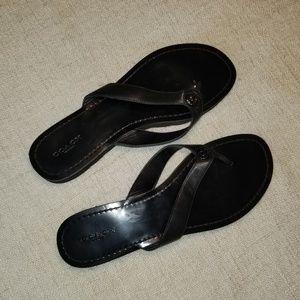 EUC  Coach black leather flip flops